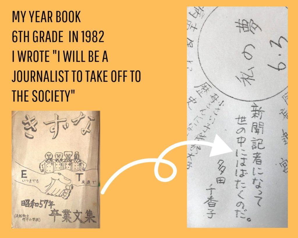 多田千香子の卒業文集「新聞記者になって世の中にはばたくのだ」
