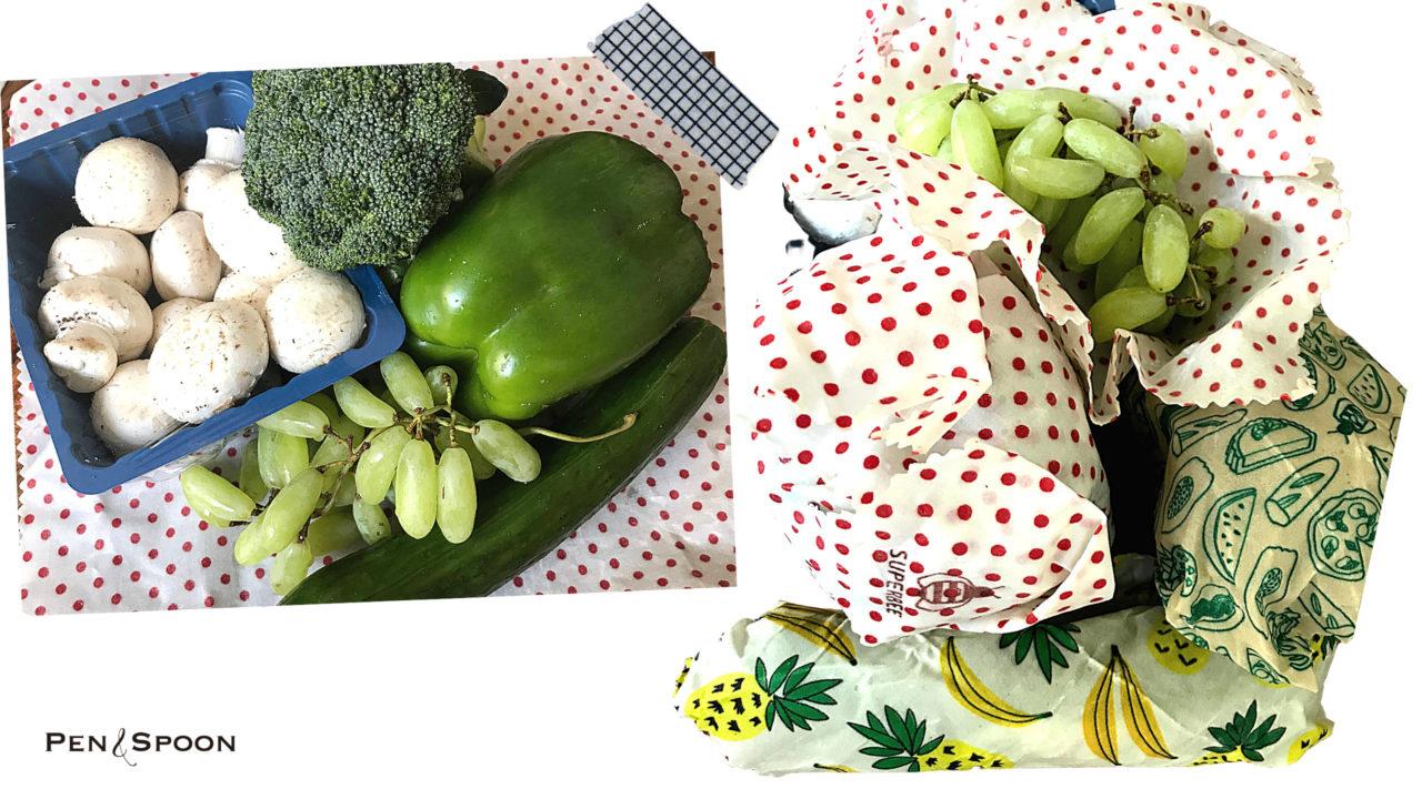 みつろうラップで野菜を包む